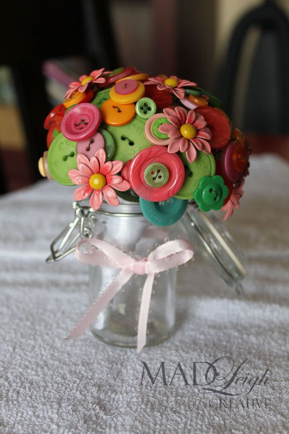 Wedding - Small Unique Non Floral Arrangement. Metal Flowers And Button Bouquet Spring Palette