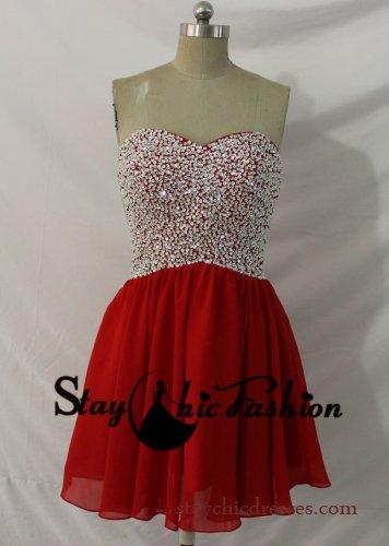 Wedding - Red Short Sequin Beaded Top Open Back Chiffon Homecoming Dress 2014