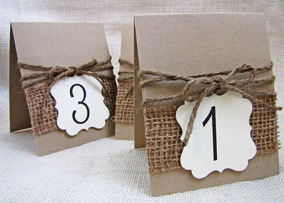 Rustic Burlap And Jute Twine Wedding Party Table Numbers Set Of 10