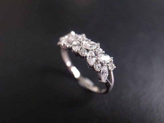 Mariage - Marquise Diamond Wedding Ring In 14K White Gold