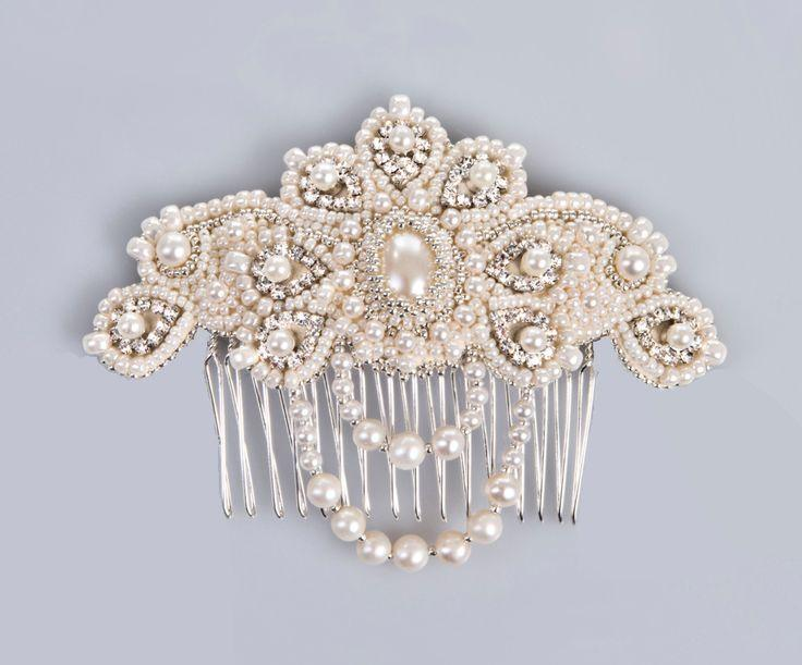 Lucrezia Pearl And Crystal Bridal Comb Hair Jewelry Vintage Style Ivory Silver
