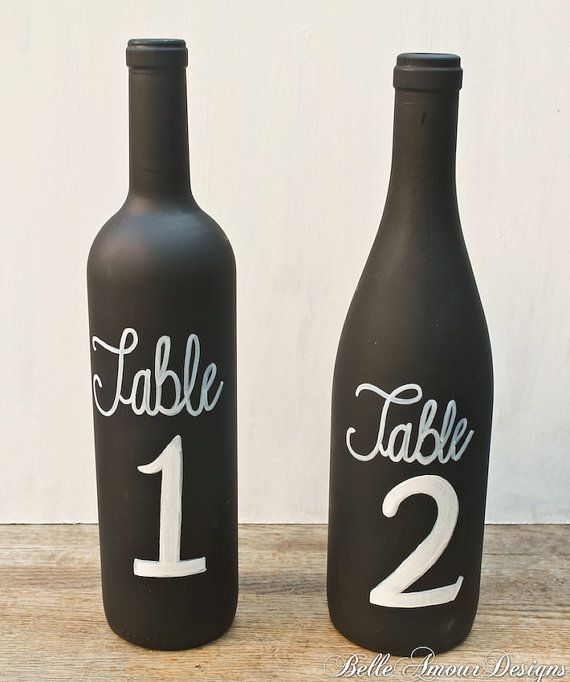 زفاف - Chalkboard Wine Bottle Table Numbers - Set Of 10