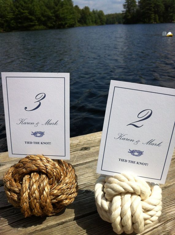 Mariage - Nautical Wedding - 20 Nautical Rope Table Number Holders (4 Inches) - Smaller Knots