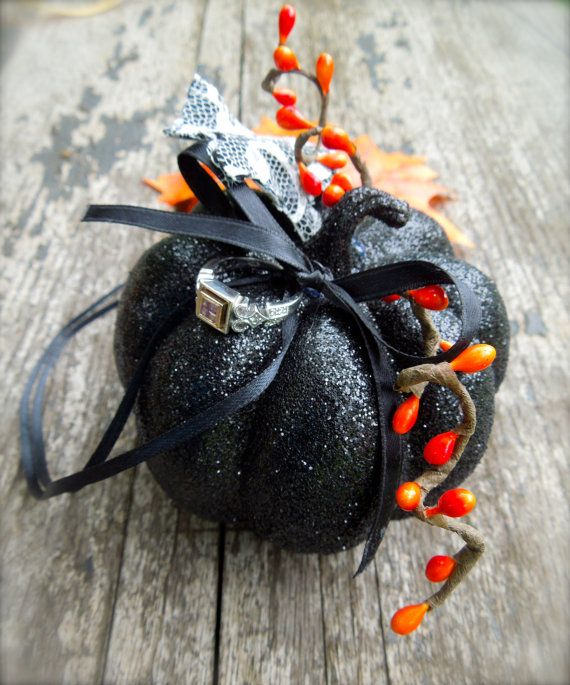 زفاف - Fall Halloween Wedding Ring Bearer Pillow Alternative Pumpkin