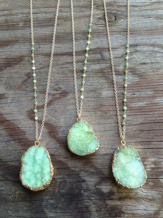 Wedding - Green Druzy Necklaces With Chrysoprase Stone Accents