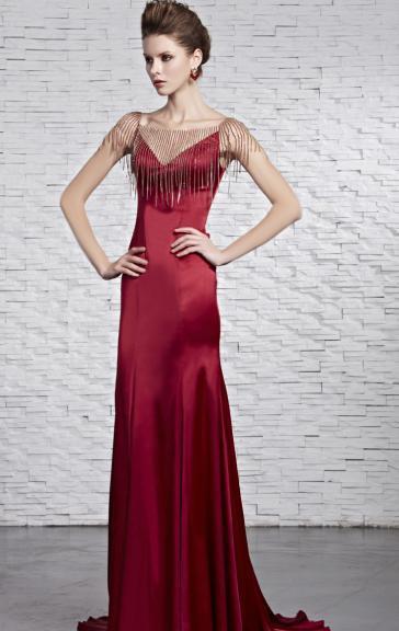 Свадьба - Robe de soirée unique longue rouge de mousseline de soie LFYAK0291