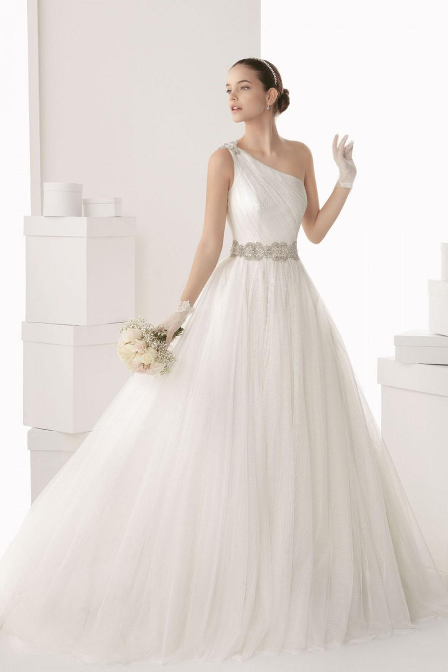 Chic one shoulder a line tulle white wedding dress cheap for White wedding dress cheap
