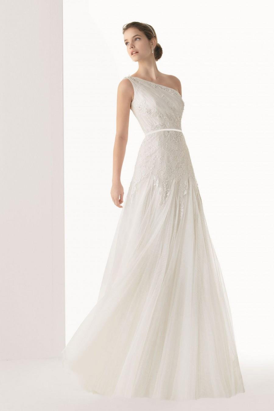 Wedding - Elegant One Shoulder Appliques Tulle Floor Length Wedding Dress UK
