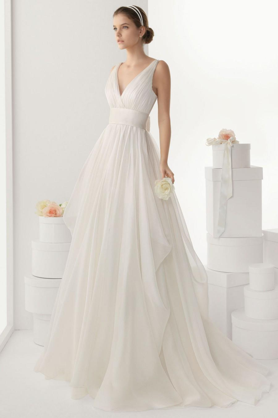 Sexy v neck backless bowknot chiffon wedding dress cheap for Cheap chiffon wedding dresses