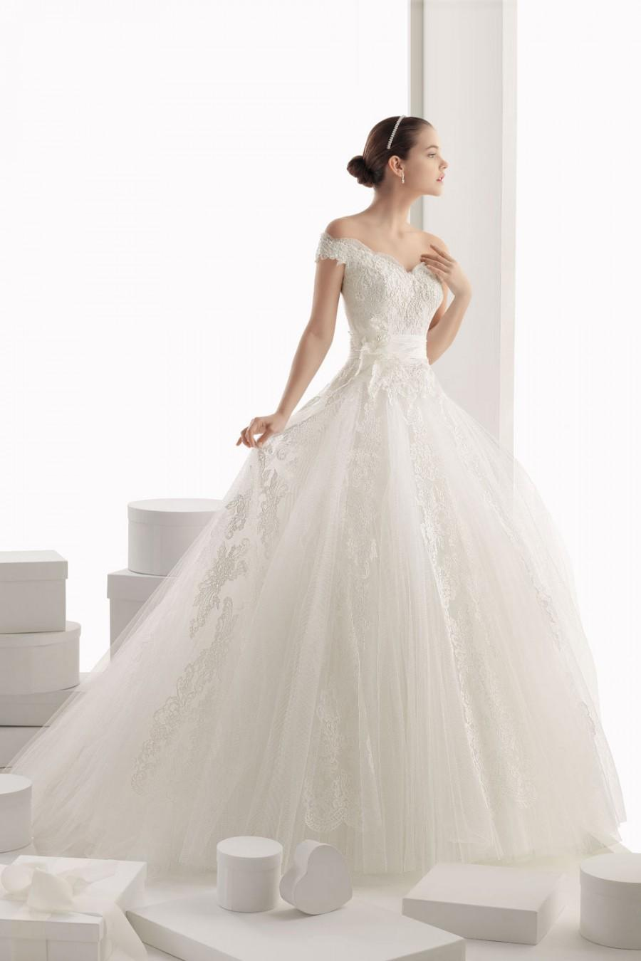 modern off shoulder flower tulle ball gown cheap wedding
