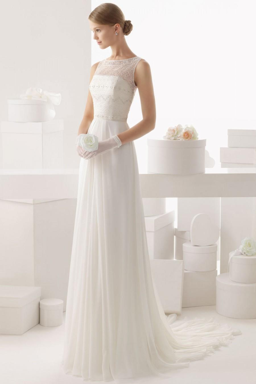 Wedding - Sheer Bateau Brush Train Tulle Cheap Wedding Dress UK