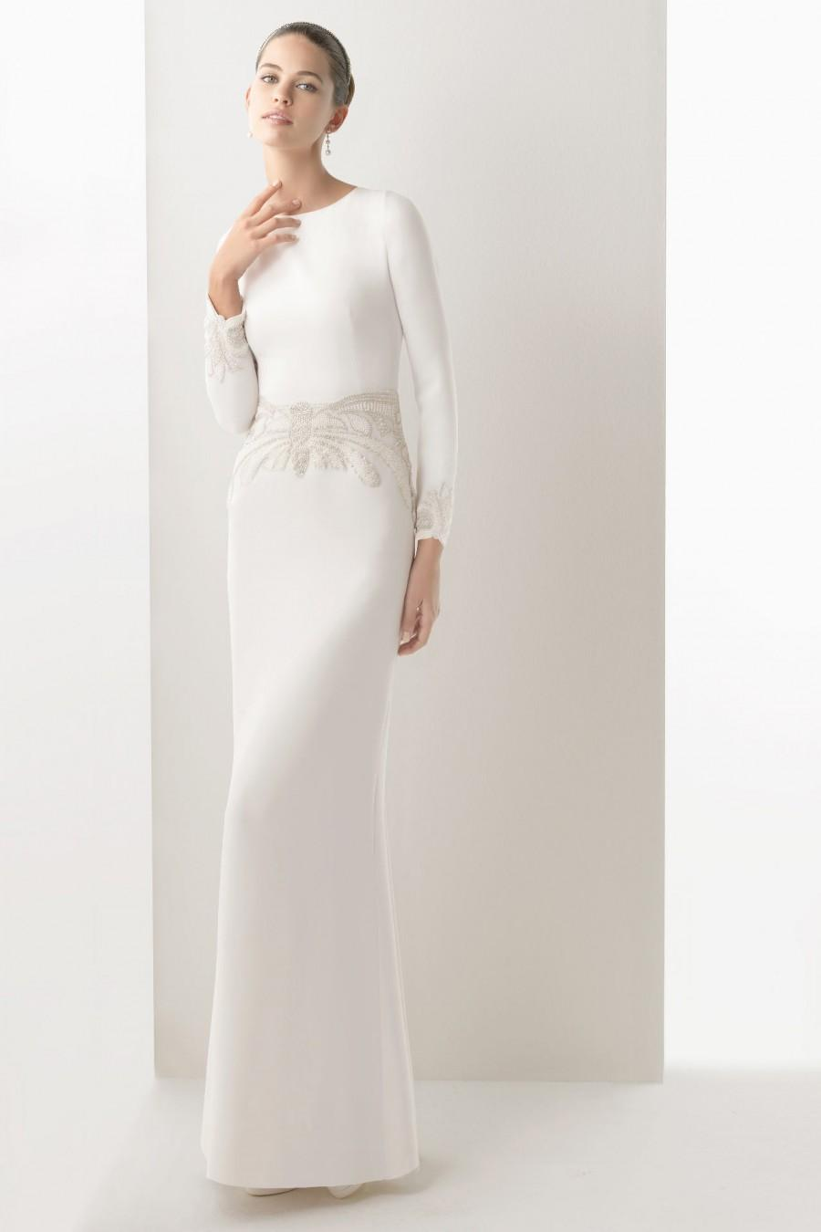 Wedding - Simple Satin Long Sleeves Sheath Embroidery Cheap Wedding ...
