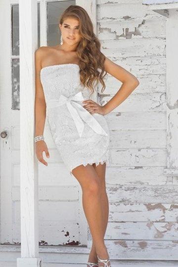 زفاف - Filey Lace Bow Belt Mini Wrap Cocktail Dress