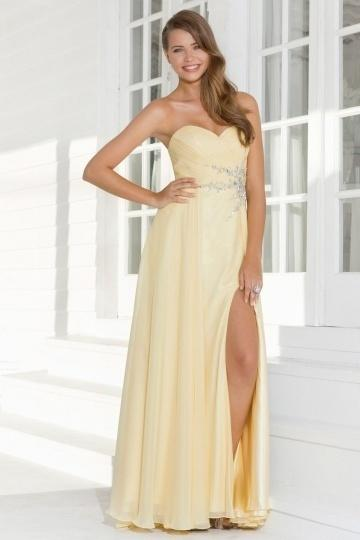 زفاف - Gateshead Chiffon Sweetheart Ruched Split Prom Dress