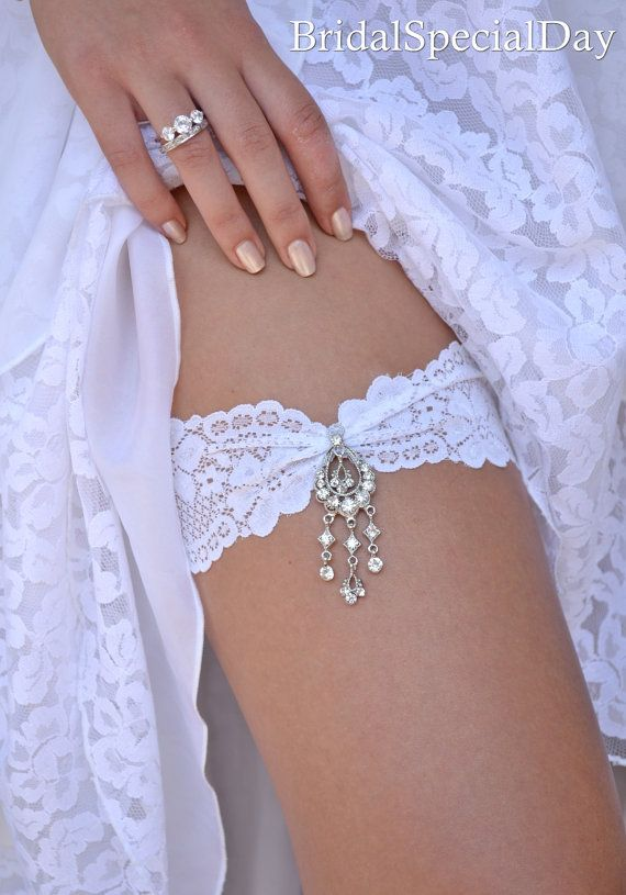 White Wedding Garter Set Stretch Lace Bridal With Pink Rhinestone Applique And Dangle Charm