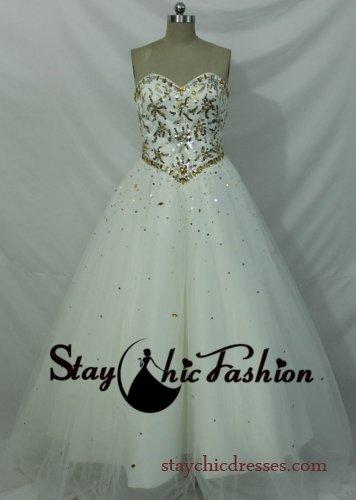 Hochzeit - Elegant Ivory White Strapless Beading Top Lace Up Back Quinceanera Ball Gown