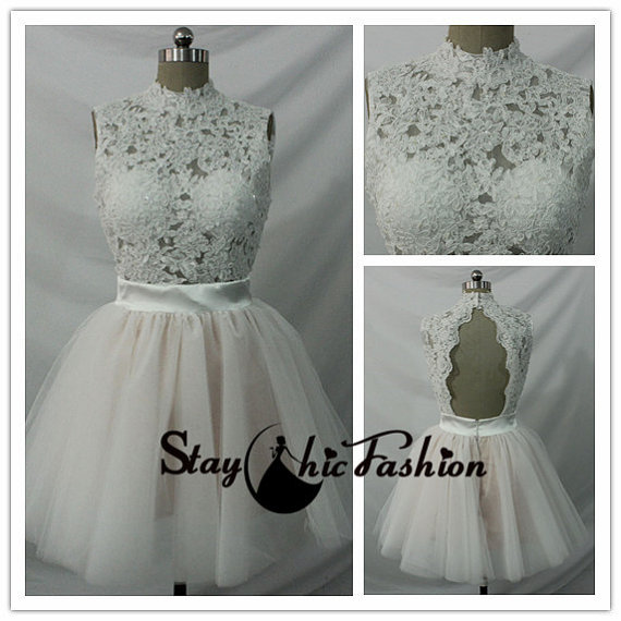 Wedding - White Floral Beaded Lace Top High Neck Open Back Short Prom Dress Sale
