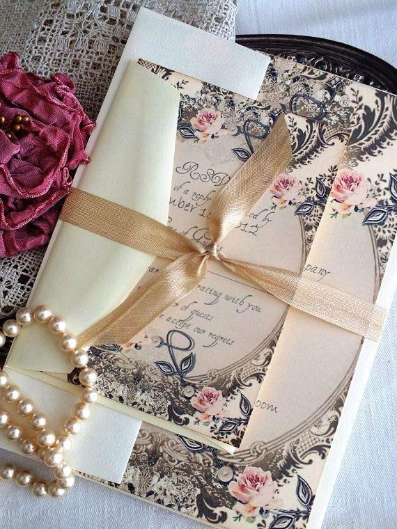 Wedding - Romantic Vintage Wedding Invitation Suite SAMPLE By Avintageobsession On
