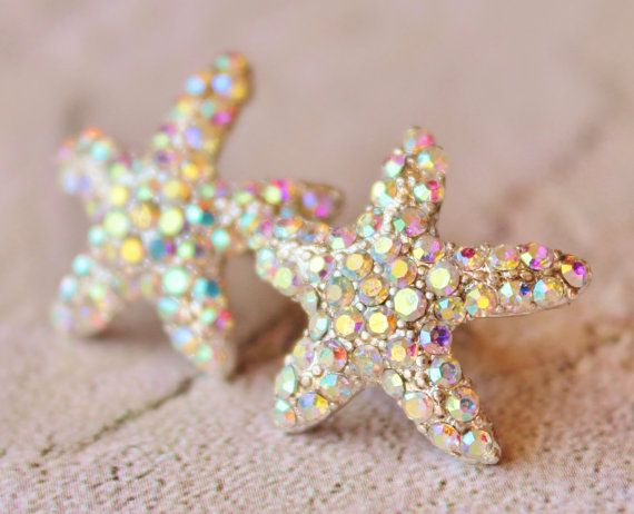 Wedding - Sparkling Starfish Stud Earrings,Crystal AB Rhinestone Starfish,Ocean,Beach Wedding,Bridal,Nautre,Rhinestone Stud Earrings,Northern Lights