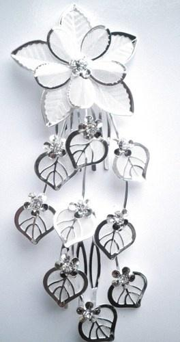 Boda - Silver Leaves Flowers Rhinestone Crystal Wedding Hair Comb Pin