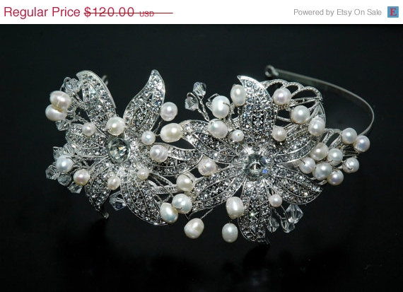 Wedding - SALE Wedding Bridal Headbpiece, Wedding Crystal Headband,Pearl Bridal Tiara, Bridal Hair Piece, Vintage Style Bridal Headpiece,Wedding Hair