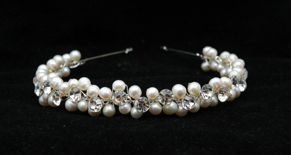 Crystal and pearl bridal headpiece bridal headband fall for Crystal fall