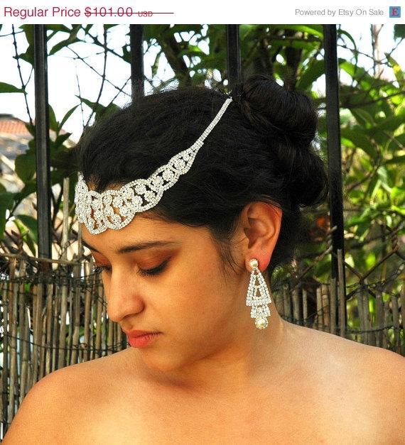 SALE Crystal Bridal Headpiece Wedding Forehead Band Rhinestone