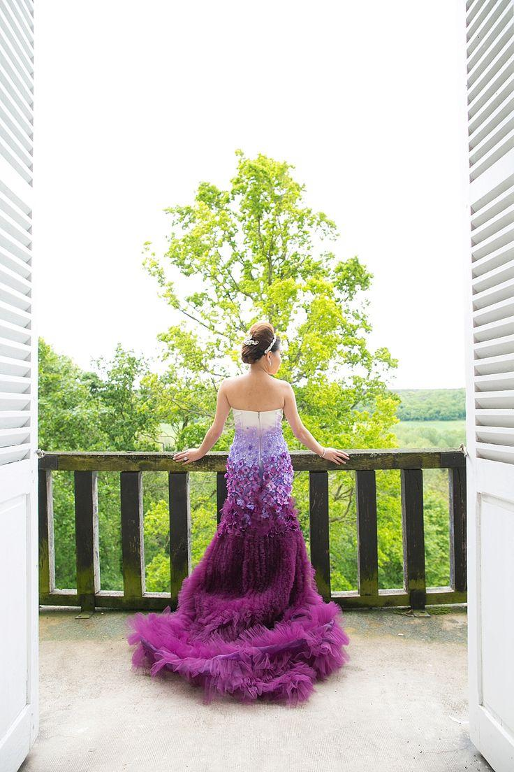 Purple wedding a purple ombre and floral wedding dress for Purple ombre wedding dress