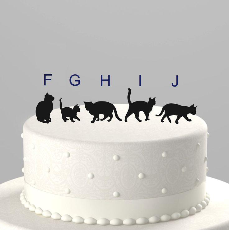 Add A Pet - Cat Cake Topper Silhouette, Acrylic Cake ...
