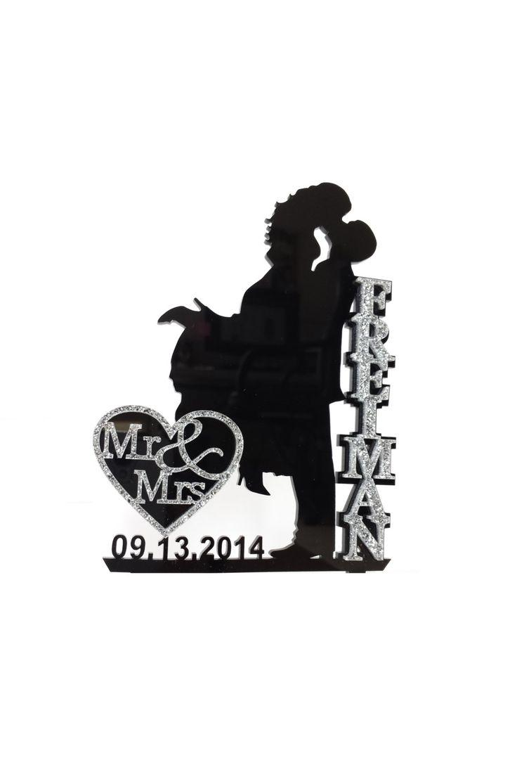 Wedding Cake Topper Silhouette With Name And Mr & Mrs In Glitter ...