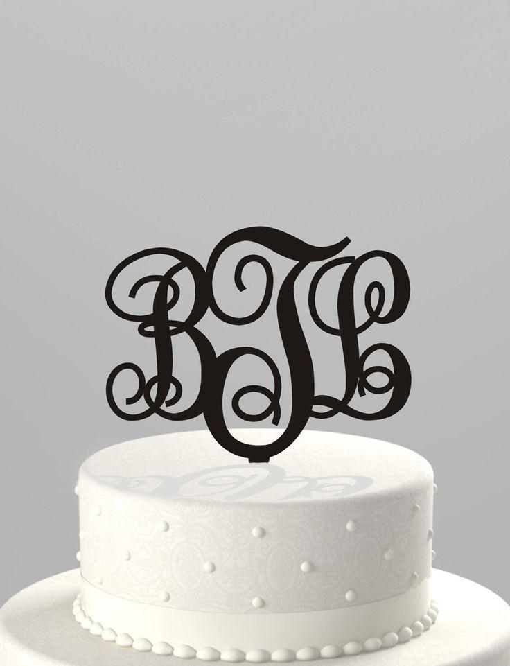 Wedding Cake Topper Couples Monogram Initials Or Birthday Monogram Initials Acrylic Cake Topper