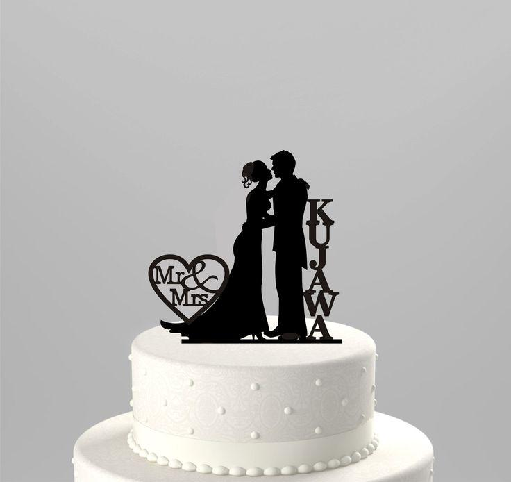 Wedding Cake Topper Silhouette Couple Mr Mrs Personalized With Last Name Acrylic CT43n