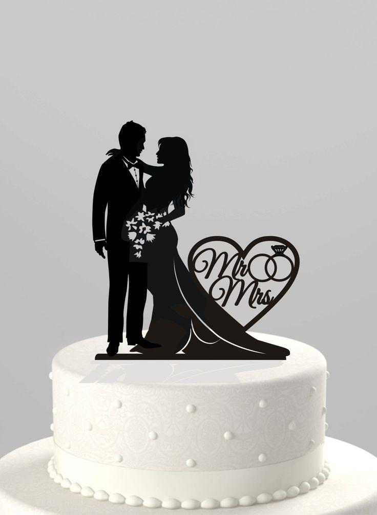Wedding Cake Topper Silhouette Bride And Groom With Mr Amp Mrs Acrylic Cake Topper CT66mm