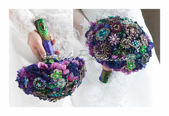 "Wedding - Purple Green Blue Peacock Wedding Broach Bouquet. ""Jewels of Regency"" Purple Green Wedding Bouquet. Blue Green Purple Bridal Broach Bouquet"
