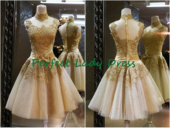 Qq545 Short Gold Lace With High Collar Knee Length Bridal Wedding Wear Beach