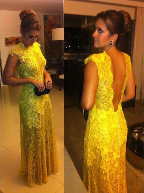 Свадьба - A-Line/Princess Short Sleeves Lace High Neck Floor-Length Dresses - Formal Dresses