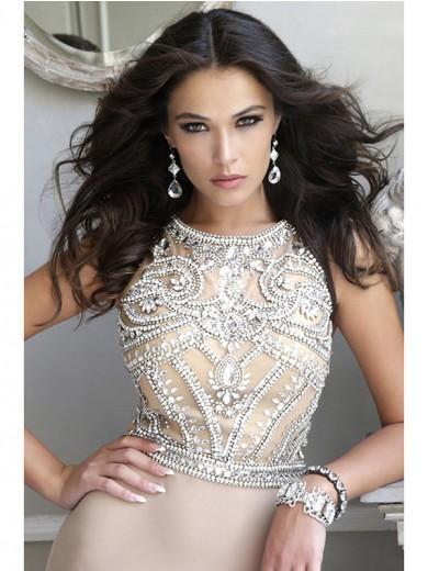 Hochzeit - A-line/Princess Scoop Sweep/Brush Train Sleeveless Beading Sequin Chiffon Tulle Dress - Formal Dresses