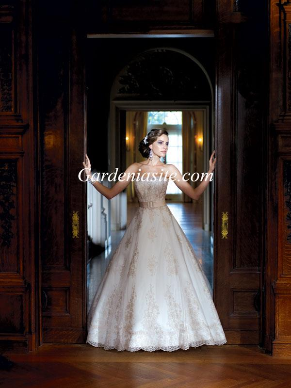 Свадьба - Ball Gown Strapless Court Train Belt Lace And Satin Wedding Dress 2014