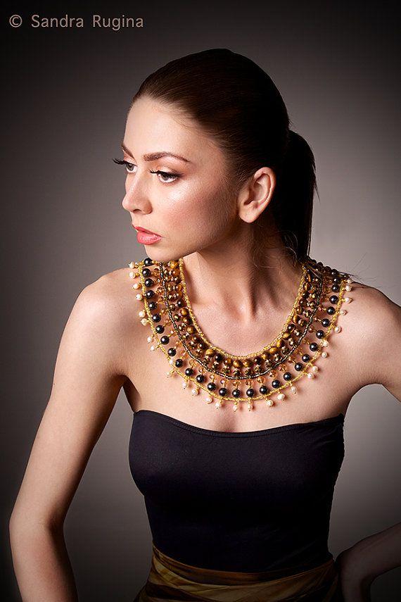 زفاف - Bib Necklace With Tigers Eye, Swarovski, South Sea Shell Pearls, Freshwater Pearls And Shiny Spacers, Golden Brown, Large Necklace