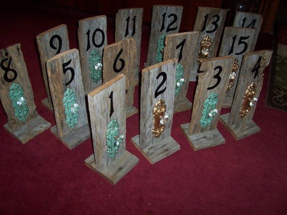 Wedding Table Numbers Door Key Rustic Barn Wood Mint Green Country Reception Decorations Beach Vintage
