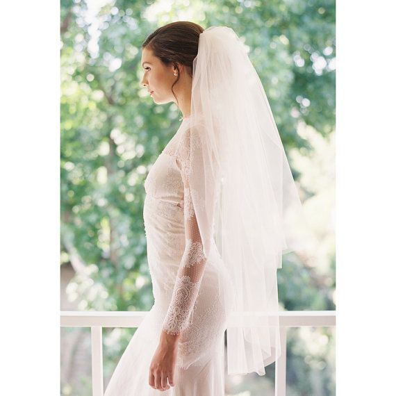 Wedding - Bridal Veil, Fingertip Veil, Wedding Veil, Tulle Blusher Veil- Style 1943