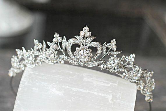 Hochzeit - Bridal Tiara Crystal Heart Tiara - DIANA, Swarovski Bridal Tiara, Crystal Wedding Crown, Rhinestone Tiara, Wedding Tiara, Diamante Crown