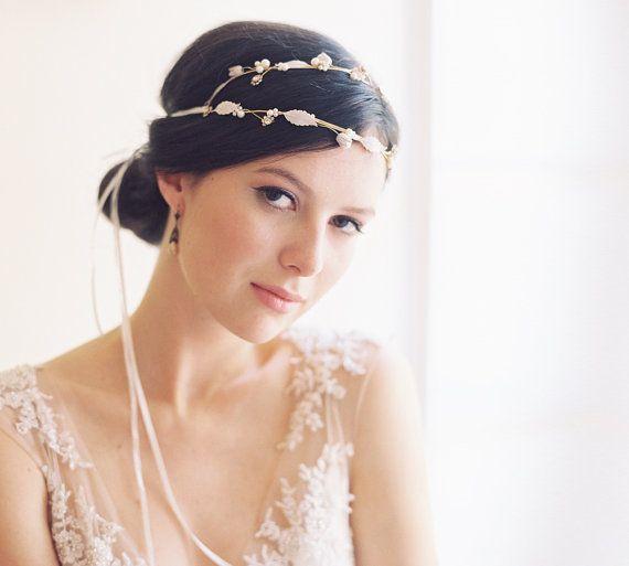 Double Enamel Bridal Headband Ribbon Tie