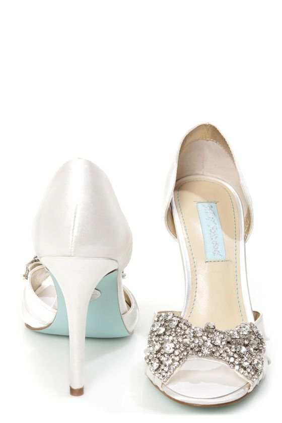 509e3c35be36 Betsey Johnson SB-Gown Ivory Satin Rhinestone Bow Peep Toe Heels ...