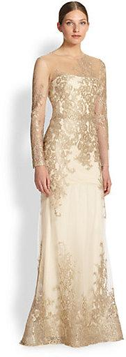 Wedding - Notte by Marchesa Floral & Lace Mermaid Gown
