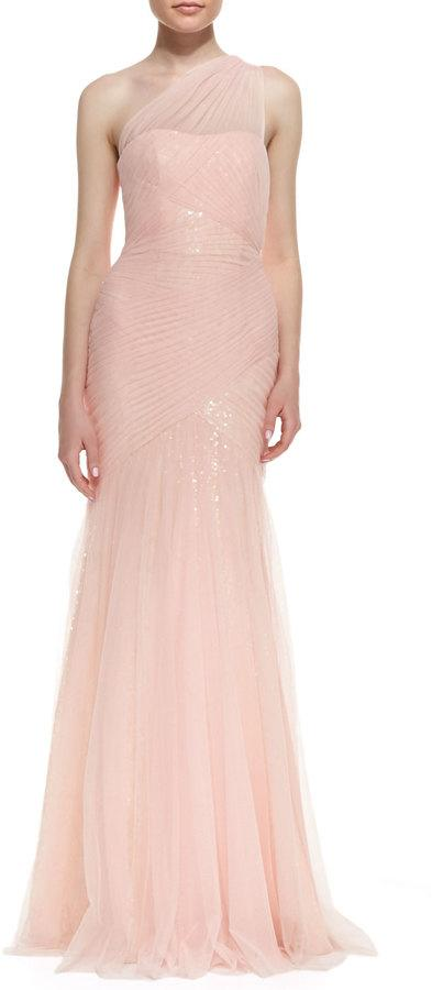 Wedding - ML Monique Lhuillier One-Shoulder Sequined-Lace Tulle-Overlay Gown