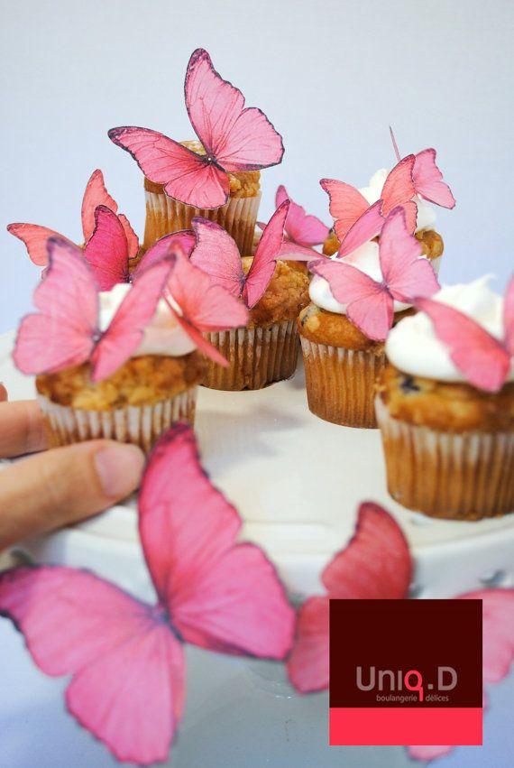 Tessa Custom Order 70 PINK GREEN Edible Butterflies Butterfly