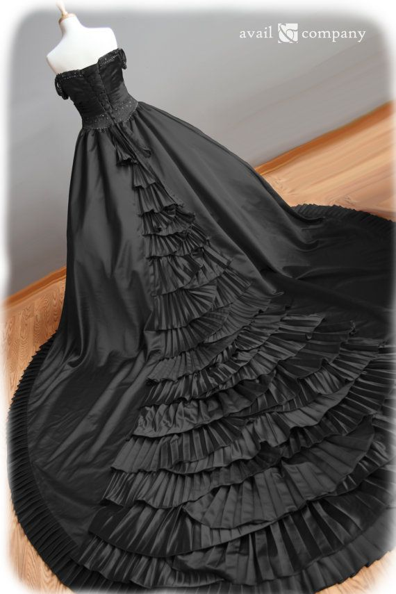 Black Wedding Dress Gothic Wedding Dress Ball Gown Style With Pleats