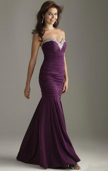 Wedding - Robe de soirée brillante longue pourpre de mousseline de soie LFNAE0020