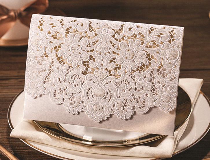 Wedding - Elegant Floral Wedding Invitation Cards With Free Envelopes & Seals Kit WI1052